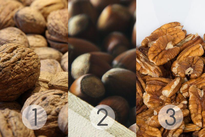 Budwig, natural medicine, seeds and nuts, Pecans, Walnuts, Hazel Nuts